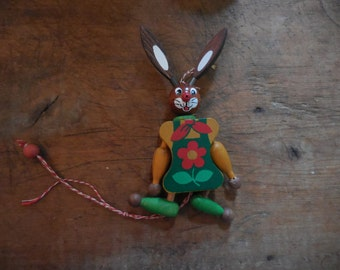 Cute Vintage Bunny Pull Toy Green Apron with Red Flower Austria
