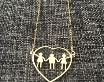 3 boys heart necklace. BEst Mother's Day present. Fine Jewelry for moms, mothers, or moms to be. Have your children next to you all day.