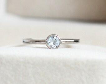 Natural Aquamarine Ring - 4mm Round Cut Aquamarine, Aquamarine Ring Silver, Aquamarine Solitaire Ring, March Birthstone Ring