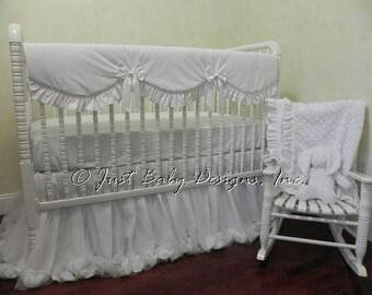 Baby Girl Crib Bedding Set Giselle White - White Baby Bedding, Princess Baby Bedding, Bumperless Crib Bedding, Crib Rail Cover, 1 - 4 pieces