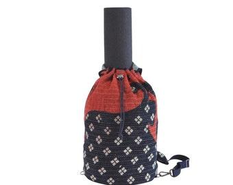 Red & Indigo W/ White Diamond Motif Crossbody Duffel / Yoga Bag