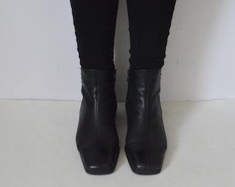Black leather Ankle Boots Womens Gabor Block chunky heeled 90s Minimalist high fashion shoes UK 5.5 US 8 EU 38.5