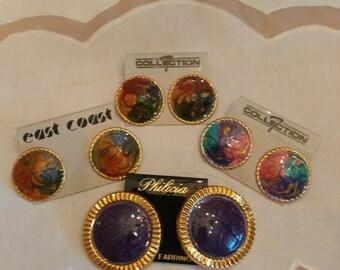 4 Enamel looking pierced earrings never worn from the 80s