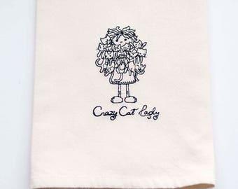 Crazy Cat Lady Tea Towel | Personalized Kitchen | Embroidered Kitchen Towel | Kitchen Towel | Personalized Kitchen Gifts | Embroidered Towel