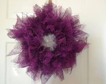 SUMMER SAVINGS SALE 2017 Purple Flower Mesh Wreath