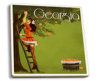 GA - Peach Orchard Pinup Girl- LP Artwork (Set of 4 Ceramic Coasters)