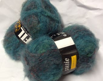 10 balls of wool mohair / teal / made in France