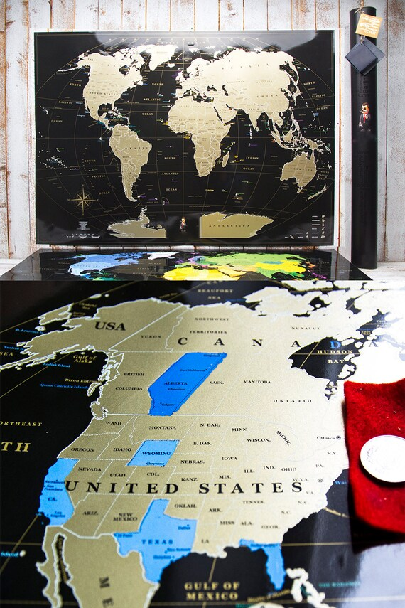 Personalized gift travel black scratch world map gift for personalized gift travel black scratch world map gift for him and for her usa canada map with states gift for couple wall decor gumiabroncs Images