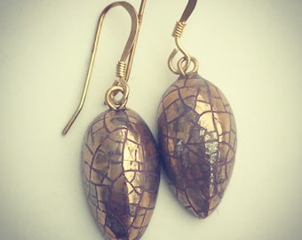 Gold lustre drop earrings with vermeil earwires