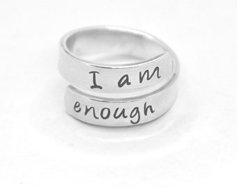 I am Enough - 925 sterling silver hand-stamped wrap ring jewelry