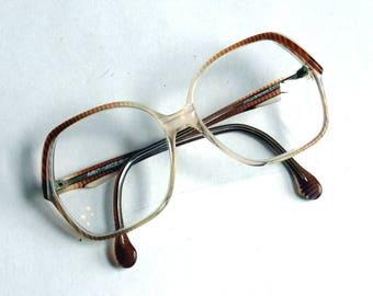 Vintage 1980s Avant Garde Women's Glasses Frames 53-50-130 - Oversized Ladies' Eyeglasses - Pinkish-Brown Stripe Pattern - Jollibrown Evita