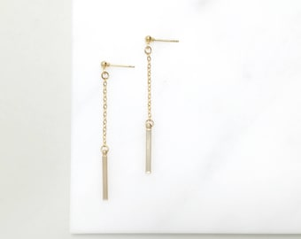 DJS. Minimal Geometric Gold Drop Earrings - Simple Gold Earrings - Chain Earrings - Minimal Geometry Jewelry - For Women - For her
