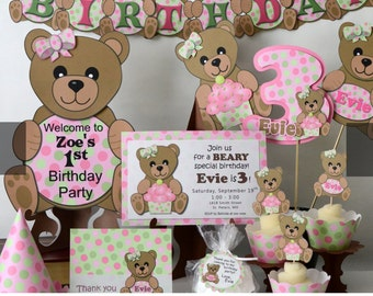 Teddy Bear Picnic Birthday Party Decorations First 1st- Invitation, Cake Topper, Cupcake, Banner, Cake Topper, Invite