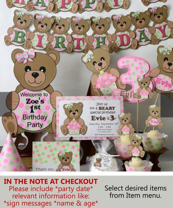 Teddy Bear Baby Shower or First Birthday Party Decorations