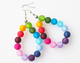 rainbow earrings colorful earrings polaris pearl earrings