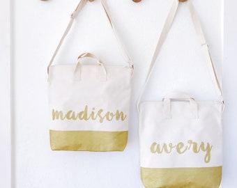 Custom Handprinted Gold Dipped Zipper Tote Bag, Gift for Tween, Girl's Tote Bag, Crossbody Purse, Small Purse, Small Bag, Bridal Bag Gift