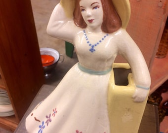 Cottage Chic Female Cowgirl Looking Vase
