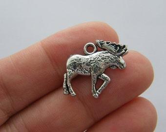 BULK 20 Moose charms antique silver tone A415