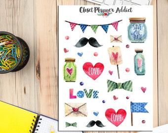 Love Planner Stickers | Valentine's Day Stickers | Wedding Stickers | Watercolour Stickers (S-012)