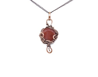 Wire wrapped copper necklace with raund cornelian Unique gift idea for woman, mom, sister, Wire wrap rustic boho heady gemstone jewelry.