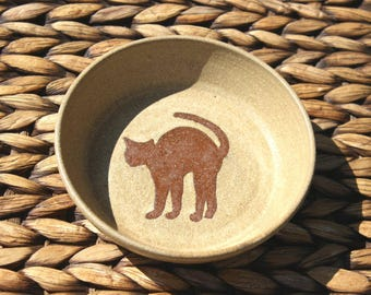 Ceramic CAT Bowl - Food Water Bowl - Handmade Cream Brown Stoneware Bowl - Cat Silhouette - Ready To Ship