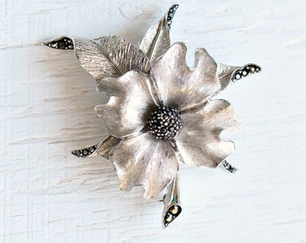 Vintage Avon of Belleville (Boucher) Large Silver Flower Brooch w/ Black Rhinestone, Amazing Condition, 1950s Canadian Costume Jewelry