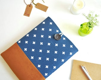Kindle Sleeve, Kindle Oasis Sleeve, Kindle Voyage Sleeve, Kindle Paperwhite Sleeve, iPad Mini Sleeve - Swiss Cross and Faux Leather Suede