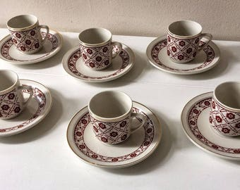 Vintage 1970's Espresso or Tea Cups and Saucers Set of 6 Made in China
