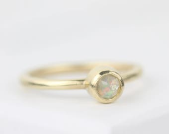 Gold and opal birthstone ring, opal ring, October birthstone