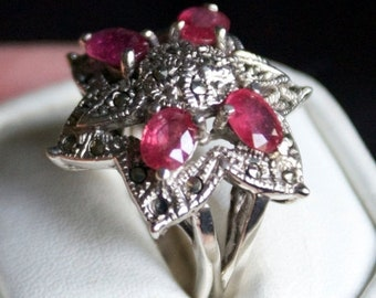 ON SALE High Class Ruby Marcasite Silver Ring