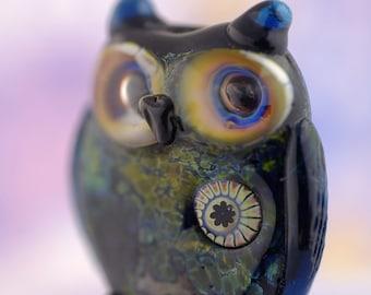 Melanie..... lampwork owl  bead............ sra