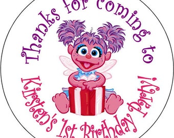 12 printed Abby Cadabby  Birthday Party Stickers 2.5 inch Round Personalized kids