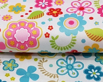 Diaper Waterproof Laminate fabric PUL - Red or Blue Flowers