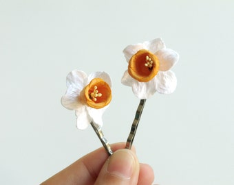 Daffodil Hair Pins - Made of white paper daffodils with orange centre and bobby pins - Set of 2