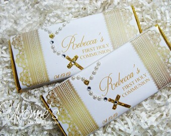 Communion Candy Bar Wrappers or Assembled-Chocolate Bar Favors-Rosary Bead Bling+Pearl-Gold Lace -Christening/Baptism/Religious Event