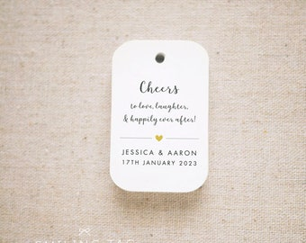 Cheers Wedding Favor Tags, Personalized Gift Tags, Bridal Shower, Thank you tags, Custom Gift Tags,Bottle Tags - Set of 24 (Item code: J737)