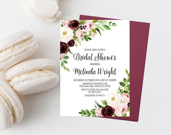 Bohemian Bridal Shower Invitation Printable Burgundy Floral Bridal Shower Invite Boho Bridal Shower Invite Wine and Pink Floral Blush 309