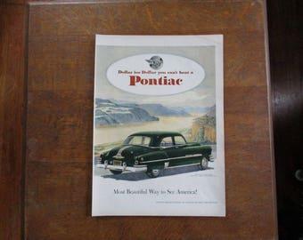 1951 Original Vintage Pontiac car ad
