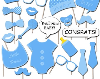 Boy Baby Shower Photo Booth Props, Printable Photo Props, Party Props, Instant Download - DP410