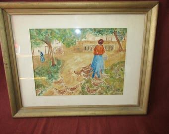 Vintage Hand Painted Water Color Country Scene