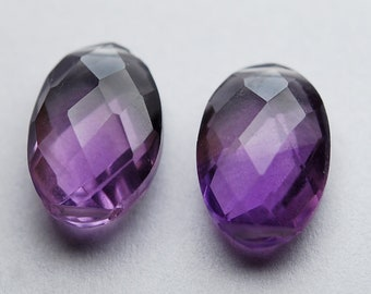 8 inch strand,14 Pieces,Finest Quality,Double Drilled,Natural Pink Amethyst Faceted Oval Shaped Briolettes,8x12mm