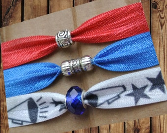 Beaded Hair Ties/Elastics Red, Blue, White Cheerleader Cheer with Megaphone and Stars