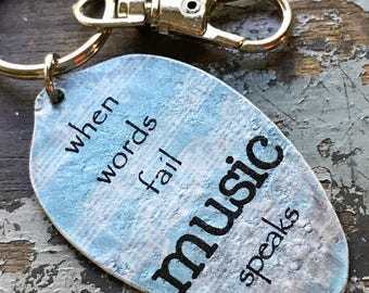 When words fail music speaks spoon keychain, Hans Christian Andersen Gift for Music Lover, Silverware Music gift from Kyleemae Designs