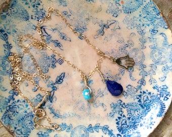 Petite Lapis, Turquoise and Hamsa Hand Charm Necklace