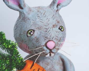 Spring Bunny with Orange Carrot folk art sculpture from polymer clay