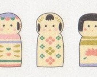 Kokeshi Stickers - Kokeshi Doll Stickers - Japanese Washi Paper Flake Stickers - Set of 30 - Reference H3466-67