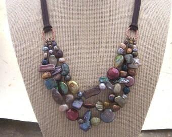 Multi Stranded Freshwater Pearl Necklace - Multi-colored - Freshwater pearl necklace  - Custom lengths.