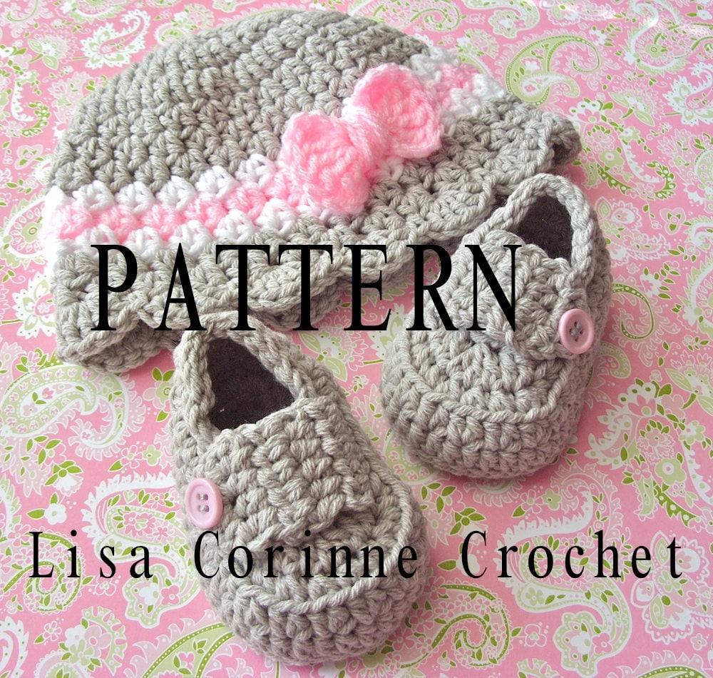Girl Crochet Baby Hat PATTERNS, Baby Loafers, Crochet Hat Pattern ...