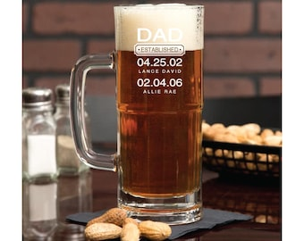 Father's Day Gift, Beer Glass Dad Est, Gift For Dad, Dad Established Glass, Gift From Wife, Personalized Beer Glass, Custom Pint Glasses
