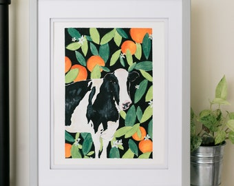 Oranges and Cow Painting Digital Download